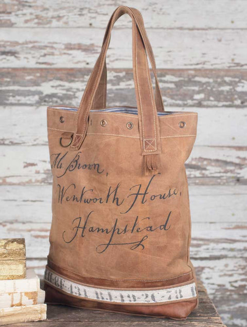 Hampstead vintage style canvas and leather tote bag