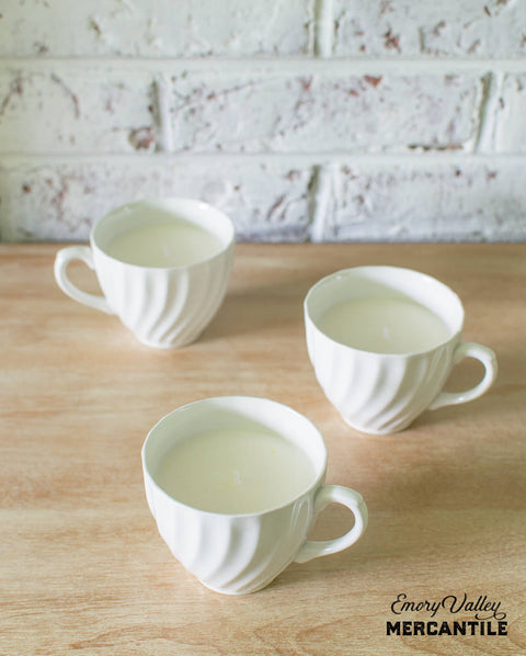 hand poured soy candle in vintage white ironstone teacup