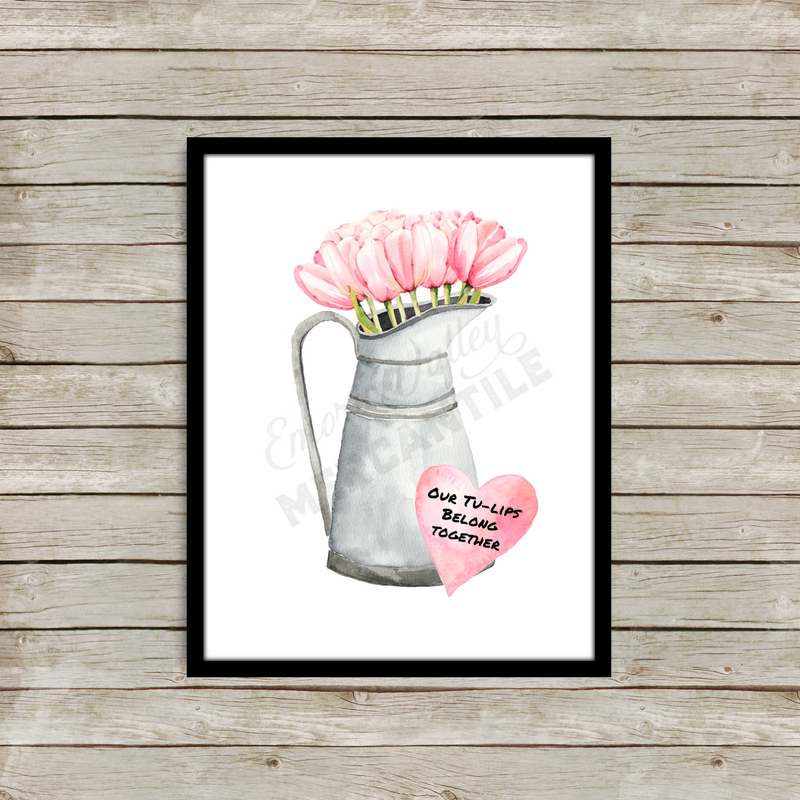 watercolor pink tulips in a watering can valentine's printable art