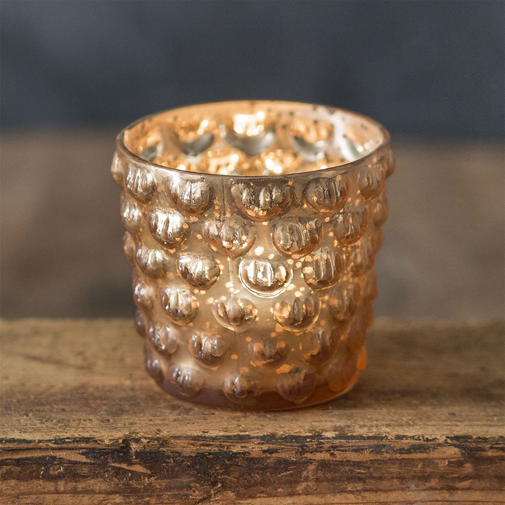 Hobnail Mercury Glass Votive Holder