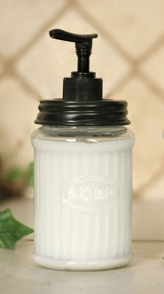 hoosier style glass soap dispenser