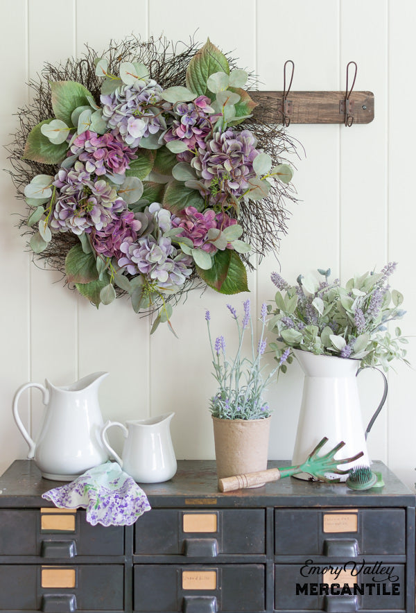 artificial hydrangea wreath