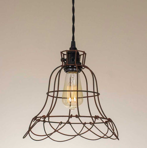farmhouse style wire cage pendant light with rust finish
