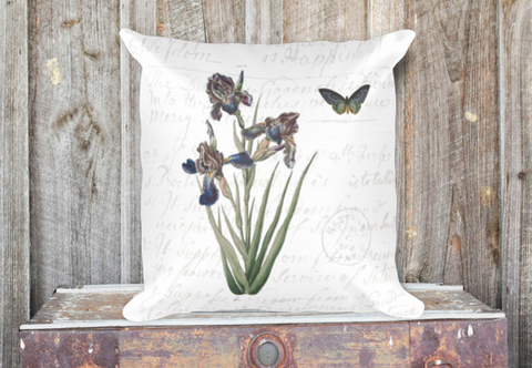 Vintage Iris Botanical Pillow Cover