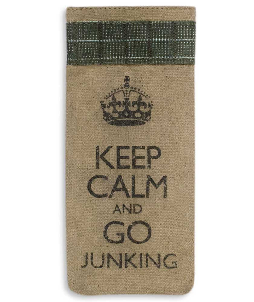keep calm and go junking glasses case