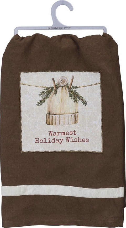 knit hat warmest holiday wishes dish towel
