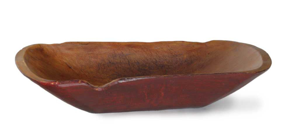 Large Red Notched Wood Bowl