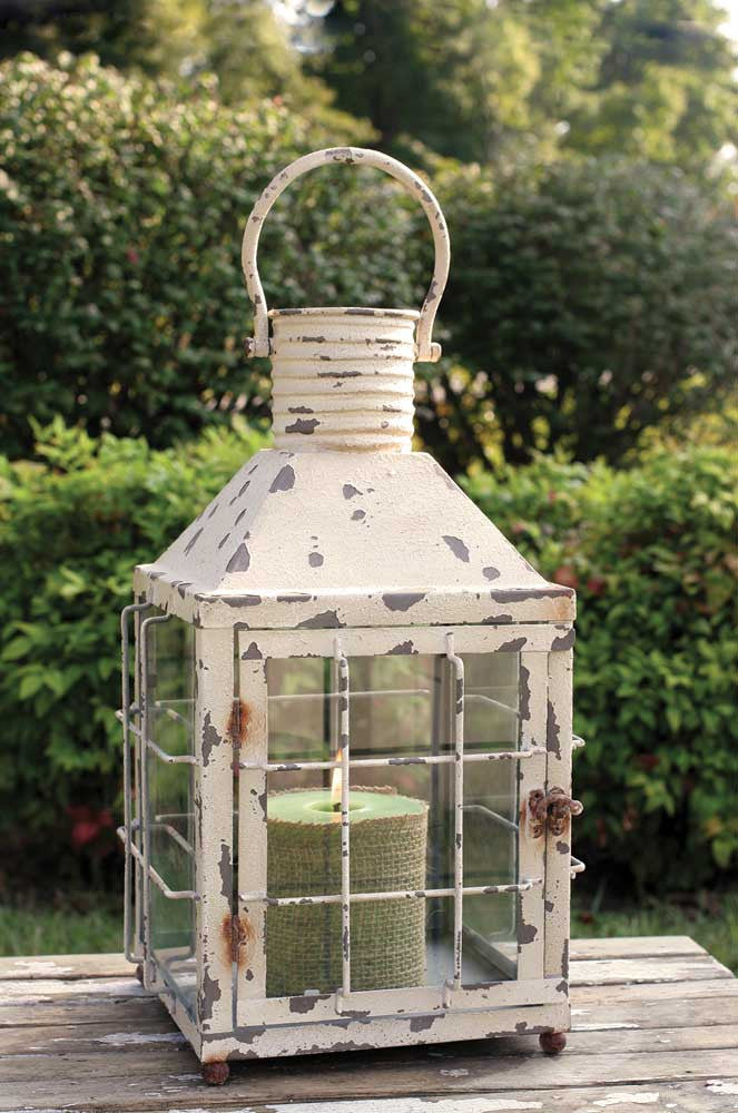 distressed metal railroad style lantern