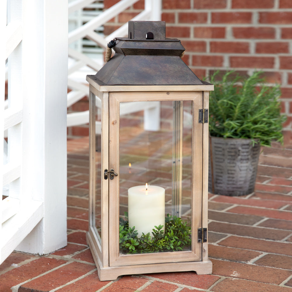 wood and metal large candle lantern