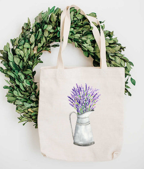 Watercolor Lavender in Pitcher Tote Bag