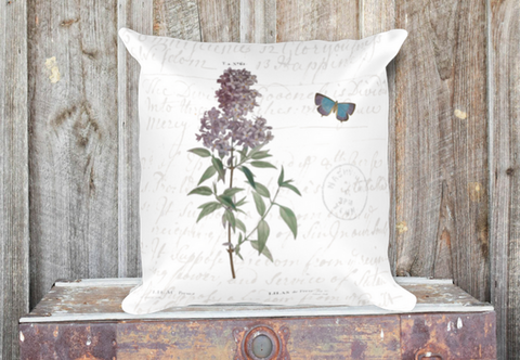 Vintage Lilac Botanical Pillow Cover