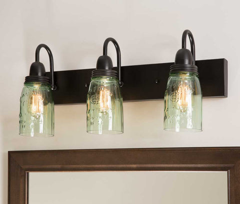 farmhouse style mason jar triple vanity light