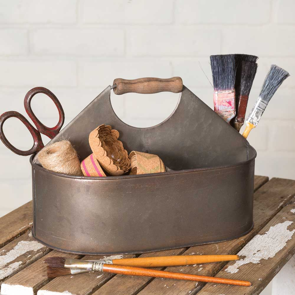 farmhouse style metal caddy with wood handle