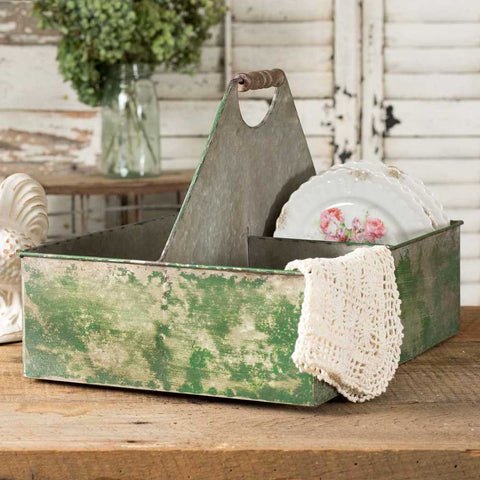 Green Metal farmhouse caddy with handle