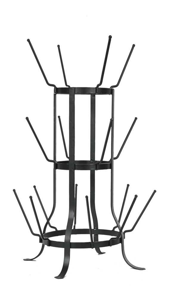 Black Metal French Bottle Drying rack Stand