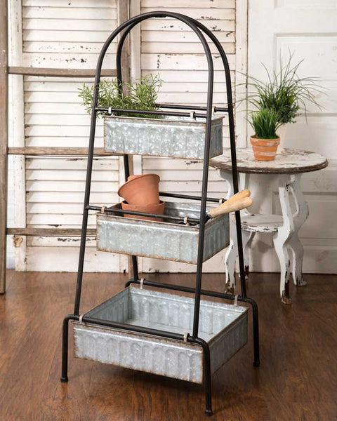 three tier farmhouse style metal storage bins