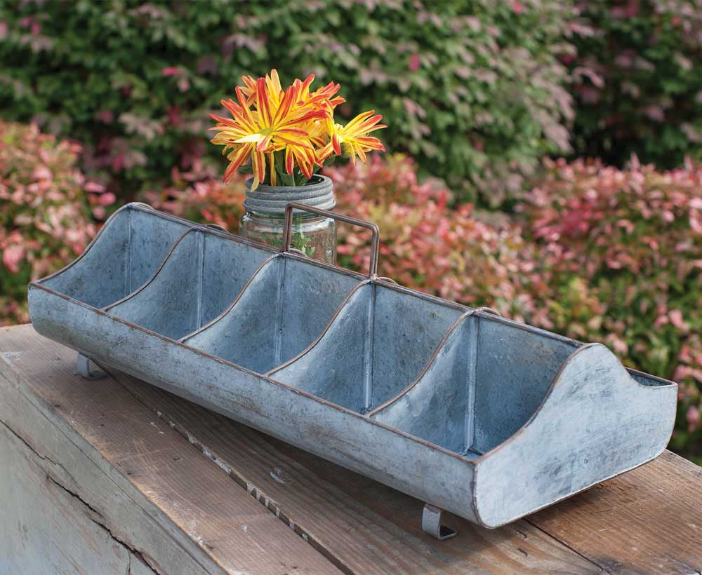 Farmhouse style metal trough caddy organizer