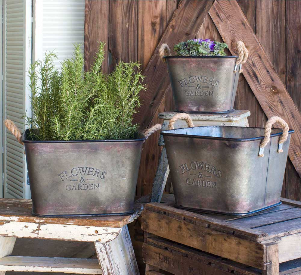 metal flowers and garden vintage style bins