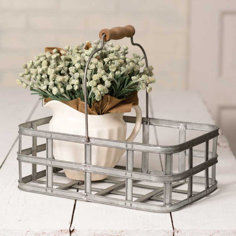 vintage farmhouse style metal market basket with handle