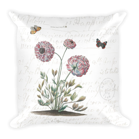 Vintage Ranunculus Botanical Pillow