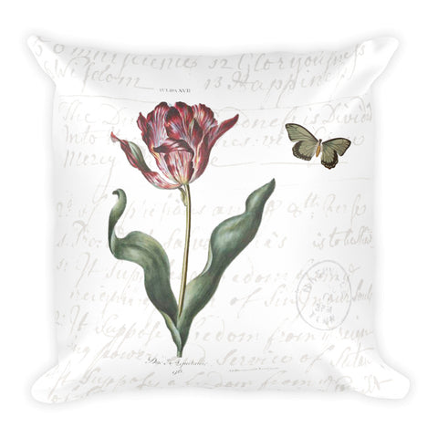 Vintage Tulip Botanical Pillow