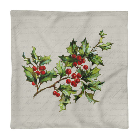 Vintage Botanical Holly Pillow Cover
