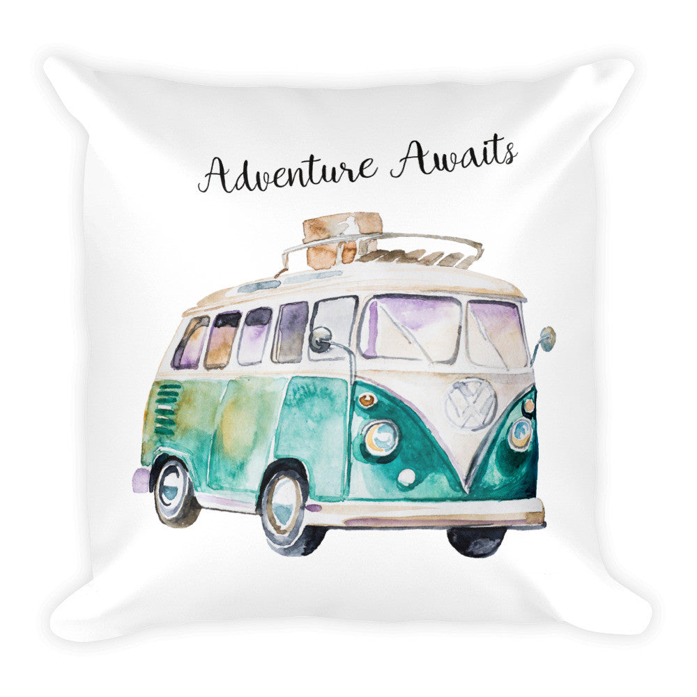 "Watercolor ""Adventure Awaits"" 18"" Square Pillow"