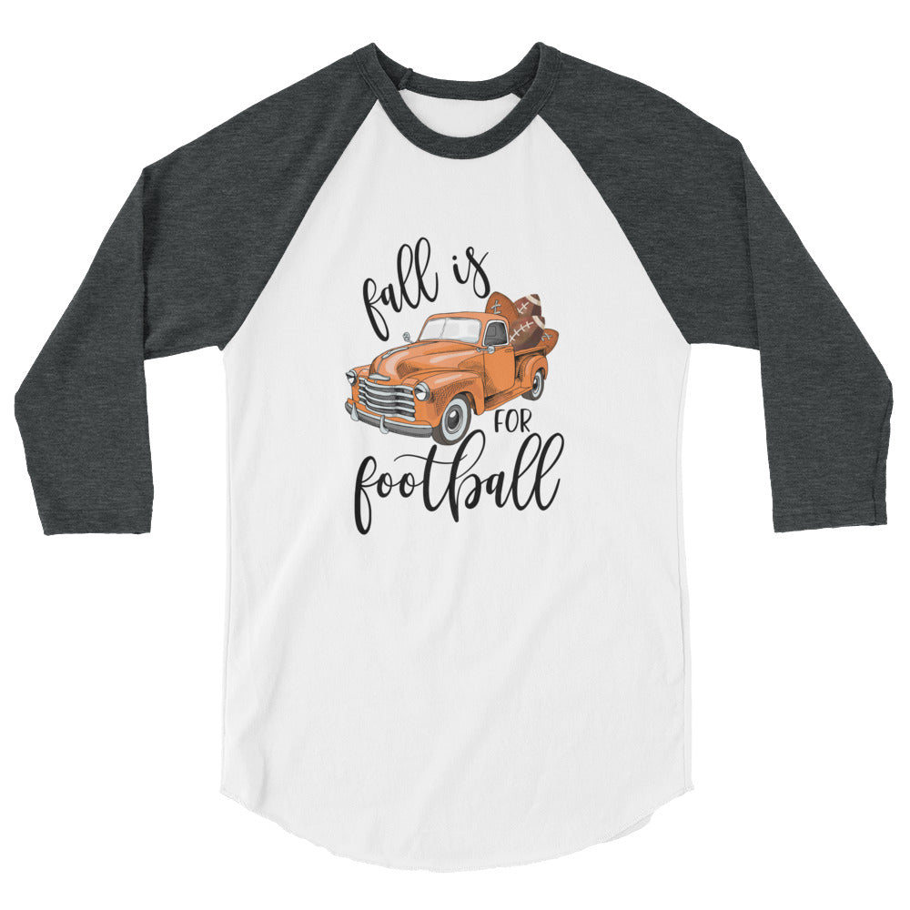Fall is for Football Vintage Orange Truck and pumpkins 3/4 sleeve tee