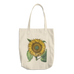 botanical sunflower cotton tote bag