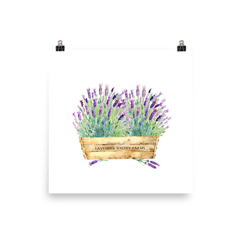 Watercolor Lavender in Wooden Crate Art Print