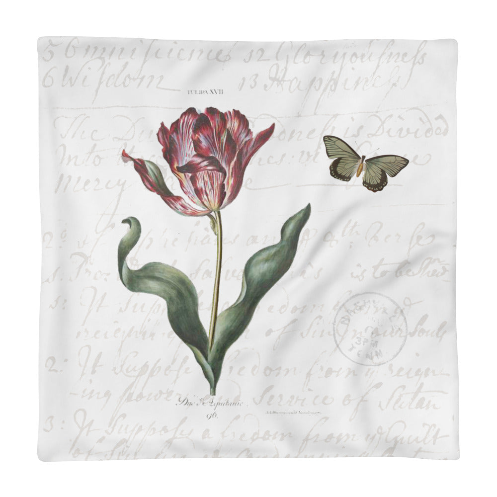 Vintage Tulip Botanical Pillow Cover