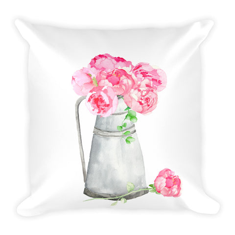 "Watercolor Pink Peonies in Metal Watering Can 18"" Square Throw Pillow"
