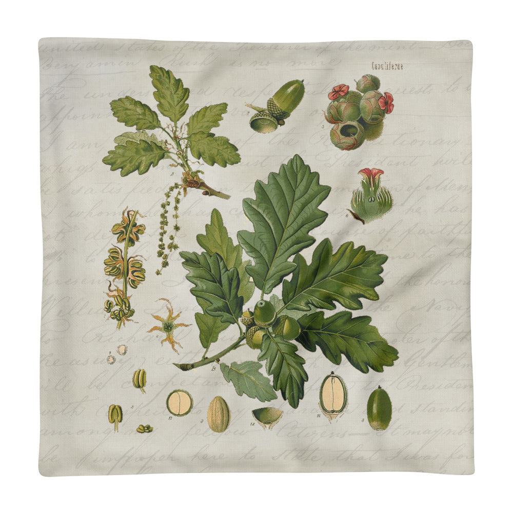 botanical leaf pillow cover