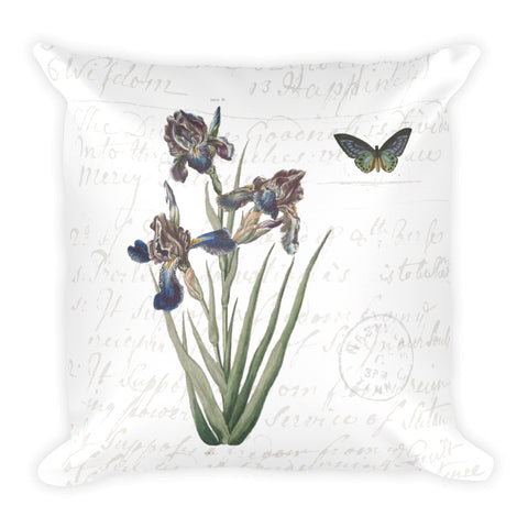 Vintage Iris Botanical Throw Pillow