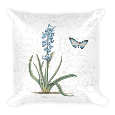 Vintage Hyacinth Botanical Pillow