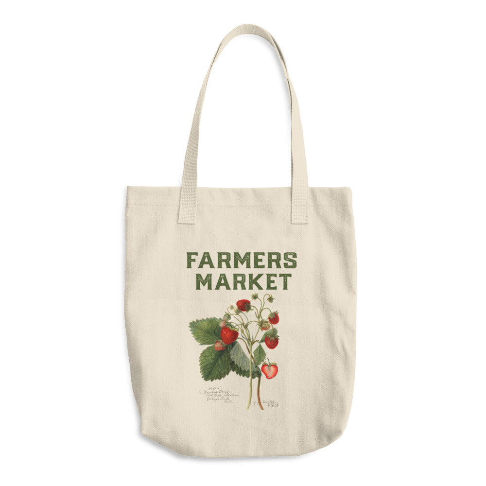 canvas farmers market bag with vintage strawberry illustration