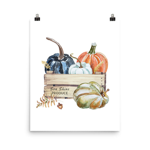 Watercolor Pumpkin Fall Wall Art