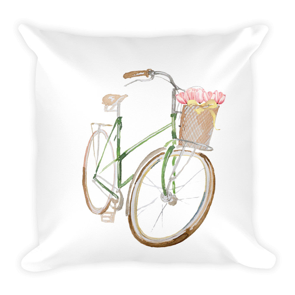 Green Bicycle Square Throw Pillow