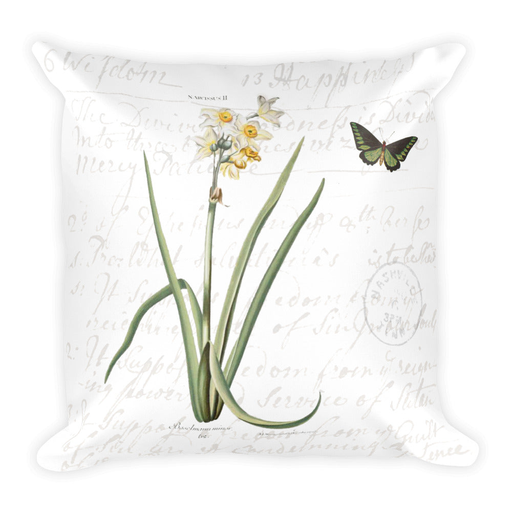 Vintage Narcissus Botanical Pillow