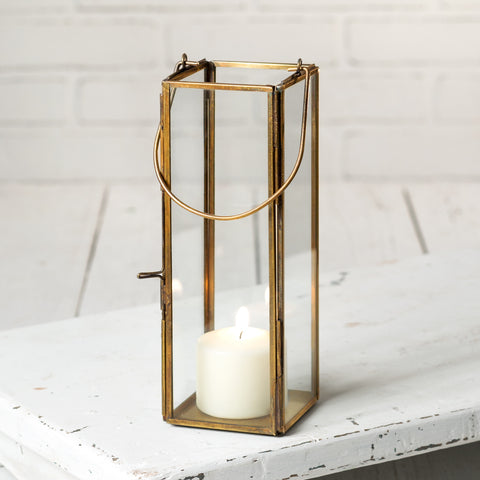 Slim Brass-Look Metal Candle Lantern