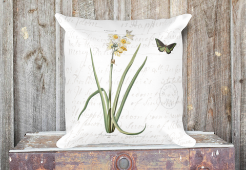 Vintage Narcissus Botanical Art Pillow Cover