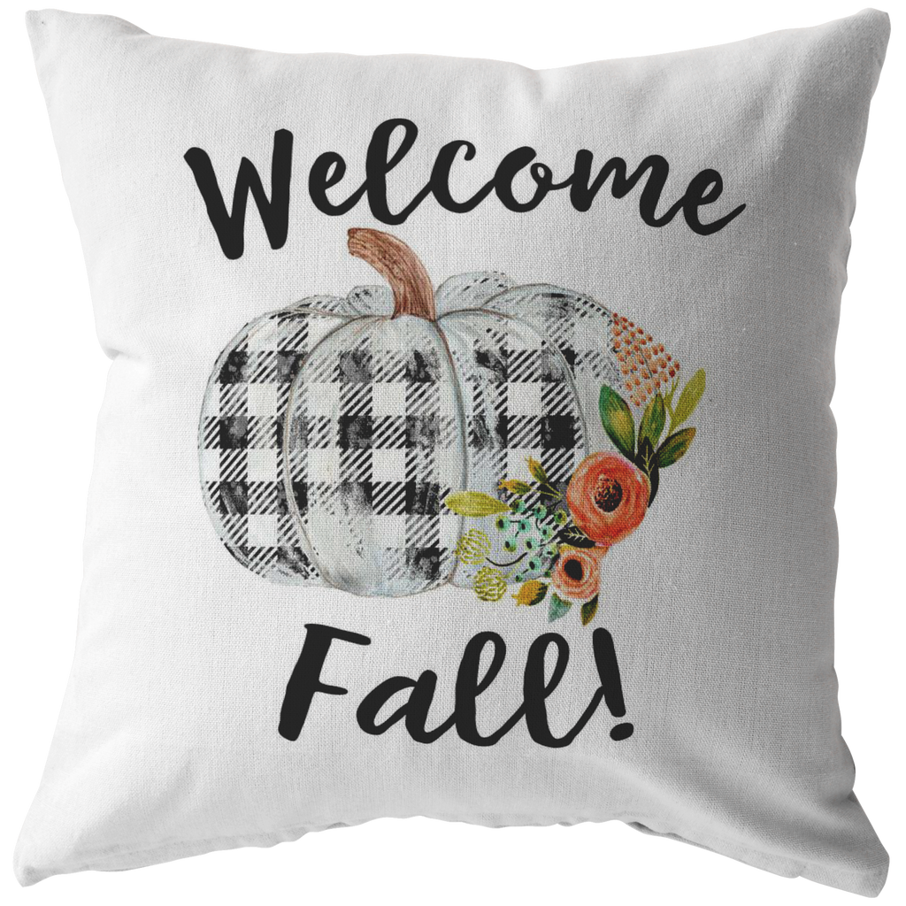 welcome fall buffalo plaid pumpkin pillow