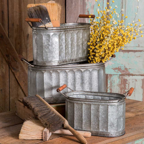 farmhouse style corrugated metal storage bins with wood handles