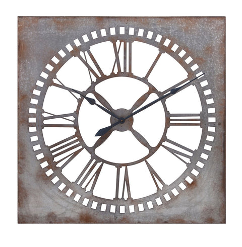 oversized galvanied metal wall clock 39""