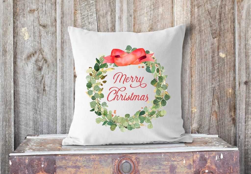 Watercolor eucalyptus wreath Merry Christmas pillow cover