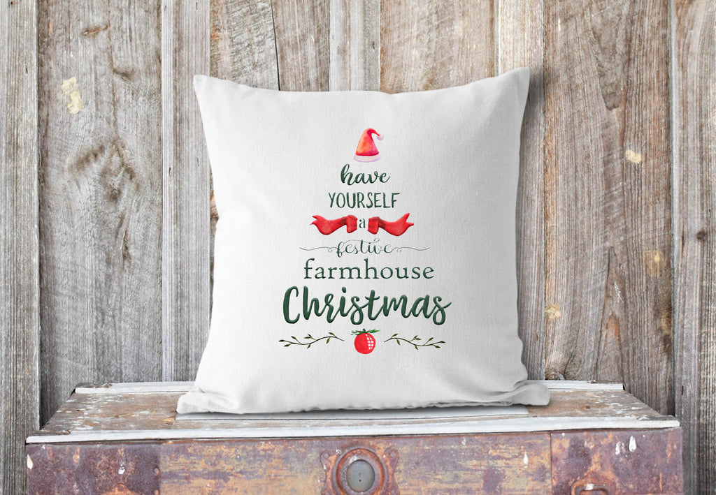 A Festive Farmhouse Christmas pillow cover