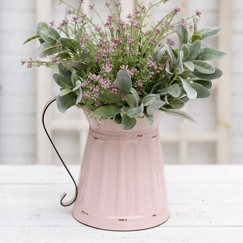 pink enamel metal farmhouse style pitcher