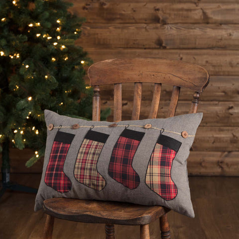 Love this plaid stocking Christmas pillow!