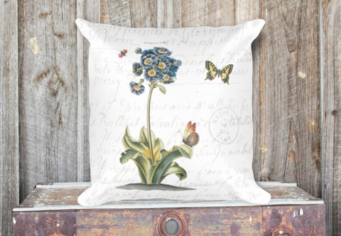 Vintage Primrose Botanical Pillow Cover