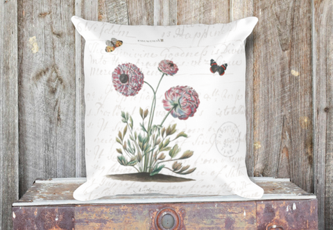 Vintage Ranunculus Botanical Pillow Cover